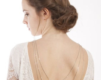 Wedding Back Necklace - Silver Draped Back Chain - Silver Back Drop Necklace - Backless Wedding Dress - Body Chain
