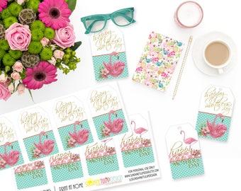 Printable Mothers Day Gift Tags, Printable Flamingo Mother's Day Gift Tags, Let's Flamingle Gift Tags by SUNSHINETULIPDESIGN