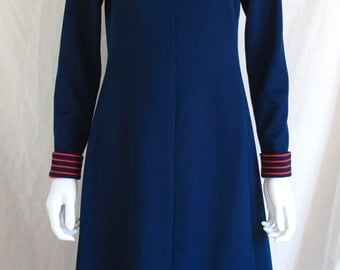 RARE Vintage 70s Absolutely Amazing Chemise Lacoste Dress Navy with Red stripes