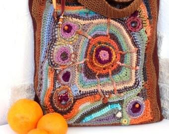 Bag Azteca, Shoulder Bag, Crochet Bag, Hand Bag, Ethnic, Freeform, Textile Bag