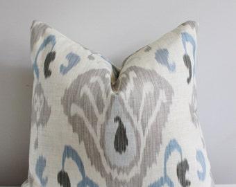 Zoffany Ikat Pillow Cover // Zoffany Annapurna Ikat Linen Pillow Cover 18x18 20x20 Throw Pillow, Accent Pillow 16 18 20 22 24 26 Euro x