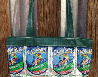 SALE Bicycles Upcycled Drink Packets and Green Plastic Yurt Material Bag