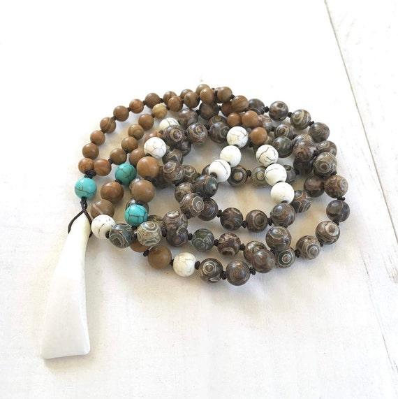 Tibetan Third Eye Agate Mala, Unisex Mala Beads, Buffalo Tooth Mala, Natural Mala Beads, Mala For A Man, Jasper Mala Necklace, 108 Bead Mala