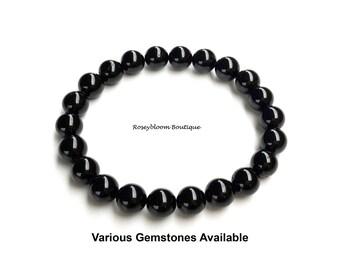 7mm Grade A Genuine Black Tourmaline Bracelet-Black Bracelet-Tourmaline Bracelet-Women Men Tourmaline Bracelet-Natural Black Tourmaline