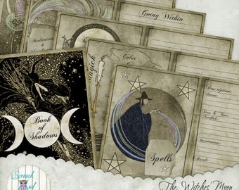 """Book of Shadows, Grimoire, Printable Journal Pages, Wheel of the Year Calendar, Digital Paper Craft Supplies, - 'BOS #9"""" - A Witches' Moon"""