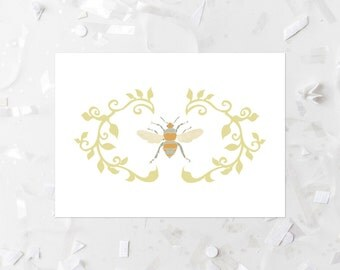Bee Printable Print Wall Decor Nursery Art Yellow Garden