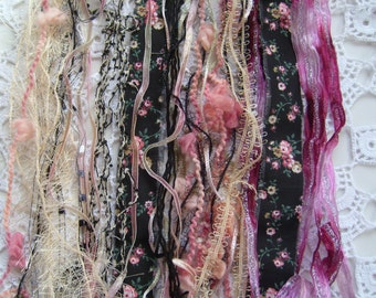 23 Yds. SPRINGTIME in PARIS Fiber art yarn bundle/shabby chic trim/mixed embelishment trim DIY/scrapbook/weaving/novelty yarn/pink black