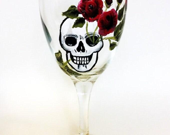 skull wine glasses, skull art, Dia de Los Muertos, All Souls Day, custom wine glass, Birthday gift, custome wine glasses, skull glasses,