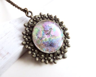 Amazing Aurora Borealis Pendant Unique Necklaces for Women Unusual Necklace Long Cameo Necklace Faux Glass Pendant Hollywood Regency Jewelry