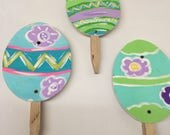 easter egg garden stakes, set of three easter stakes, easter decorations, ready to ship, easter, housewarming