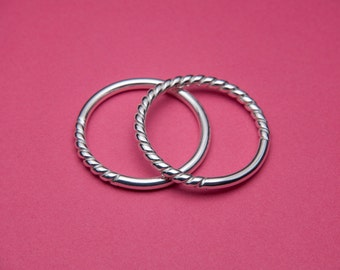 Stacking Rings Set, Round and Twist Ring Bands, Sterling Silver, Thin Stackable Rings, Custom Size Handmade to Order!