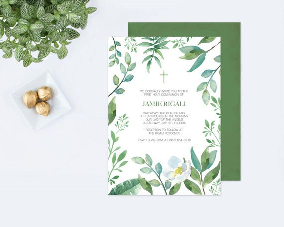GREENERY BAPTISM INVITATION, Greenery First Communion, Boys First ...
