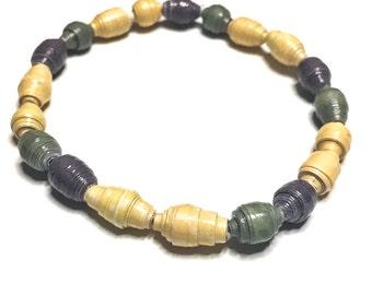 Multicolor Paper Beaded Bracelet - 1st Anniversary Gift - Handmade Bracelet - Recycled Bead Bracelet - First Anniversary Gift - Womens gift