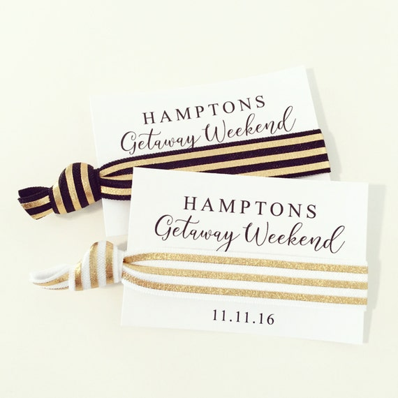 Gold Foil Hair Tie Favors | Girls Getaway Hair Tie Favors, 21st + 30th Birthday Party Favors, Girls Weekend, Girls Trip Custom Hair Tie Gift