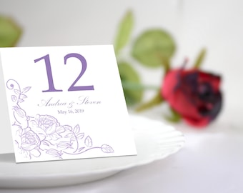Lavender Table Number Tent Template Nicely Decorated With Roses. Printable Blushes Design.