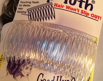 "Grip- Tuth Combs, Hair Combs,  3 1/4"" Wide, Crystal Clear Comb, Bridal Veil Comb, Two Combs in One Pack!  Made in the USA"