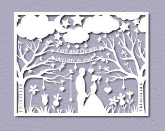 Wedding Paper Cut Template - Paper cut Templates - PDF Printable - Paper Cutting Templates  - Paper templates - Cut your own