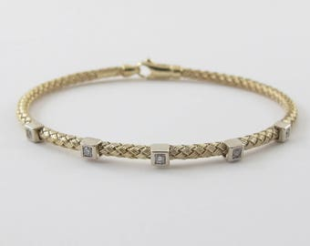 "14k Yellow Gold Diamond Bangle Bracelet 7"" - Braided soft bangle Bracelet"