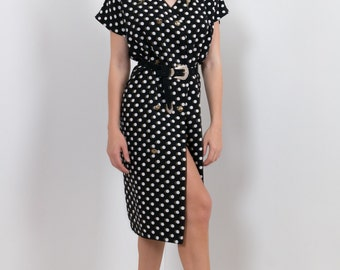 90s Shirt Dress Black Polkadot Spot Print