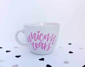Unicorn Tears | Pink Vinyl | 16oz White Stoneware Mug | Handlettered | Coffee & Tea