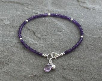 Purple Amethyst Bracelet, Amethyst Beaded Bracelet, Purple Gemstones, Purple Bracelet, Beaded Amethyst, Sterling Silver