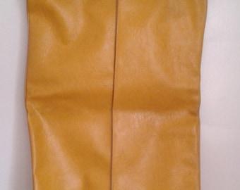 Vintage 1960's Mustard Yellow Textured Vinyl Garment Bag 2 Hangers Mod Mid Century