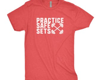 Practice Safe Sets Tee - Weightlifting Tee - Gym Shirt - Workout Shirt - Funny Gym Shirt - Fitness Shirt - Gym Tshirt - Workout Tee