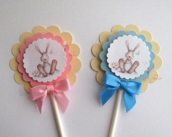 Bunny Cupcake Toppers - watercolor - set of 12 pink or blue