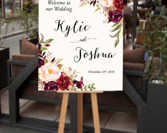 Wedding Welcome Sign, Large Floral Wedding Sign, Bohemian Wedding Decor, Printable Welcome Wedding Sign, Ceremony Reception Signage - Kylie