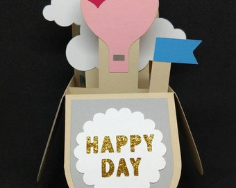 Happy day, hot air balloon box card