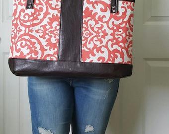 Coral Dark Brown Faux Leather Handbag, Tote, Purse, Travel Bag, Diaper Bag, Laptop Bag, Large Handbag, Work Bag, Damask Print, Gift Idea