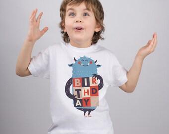 Kids Monster Shirt Monster Birthday Monster Party Birthday Shirt Little Monster Shirt Kids Tee Funny Childs T shirt Monster Outfit PA1090