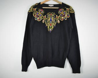 Black Jeweled Collar Sweater with Gold Detailing- Be Dazzled Sweater