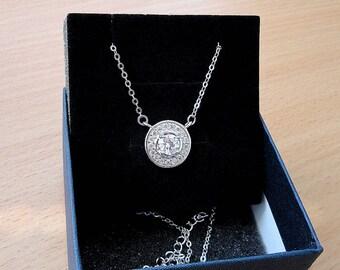 Cubic Zirconia CZ diamond crystal necklace dainty delicate simple necklace jewelry pendant cz everyday minimalist necklace bridesmaid gift