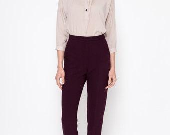 Pantaloni a sigaretta (Bordeaux) / alta pantaloni a vita / Slim Fit pantaloni / anni 60 pantaloni / pantaloni Retro / Vintage Pantaloni