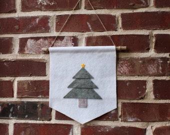 Christmas Tree Banner- Wool Felt Banner- Christmas Wall Decor