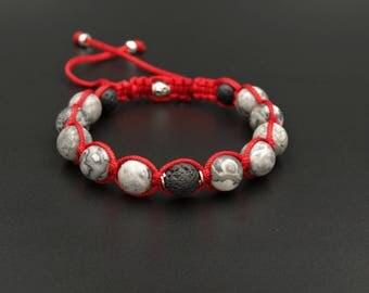 Jasper Beaded Bracelet Men/Shamballa Bracelet/Men's Bracelet/Gemstone Bead Bracelet/Macrame Bracelet/Gift for Men/Herren Armband/Adjustable