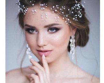 Babys breath hair piece Bridal hair vine Wedding pearl hair vine Long Pearl headpiece Silver Headband Halo Pearl Wreath Bohemian Hairpiece