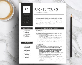 Modern resume template for Word and Pages (includes 1, 2 & 3 page resume + cover letter) Professional CV Template | instant download