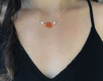 Carnelian Necklace, Orange Gemstone Necklace,Layered Necklaces,Simple Round Stone Pendant Necklace,Delicate Minimalist Jewelry,Gold Necklace