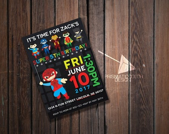 Superhero Birthday Party Invitation with Spiderman Batman Superman Robin Iron Man and Captain America (DIGITAL FILE)