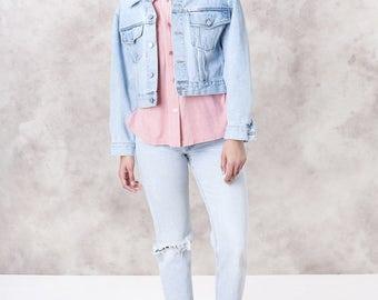 GUESS jeans DENIM jacket CROPPED 90s Bleached Light wash jean coat women Medium oversize vintage / better Stay together