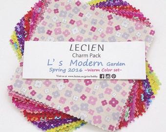 """Lecien 5"""" x 5"""" Charm Pack L's Modern Garden Spring SP16 Warm color set 42 pieces"""