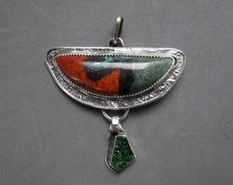 Sonoran Sunrise & Uvarovite Sterling Silver Pendant