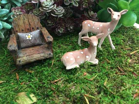 Miniature Fawns, Fairy Garden Accessory, Miniature Gardening, Home & Garden Decor, Topper, Shelf Sitter, Mini Deer Figurines
