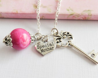 Special Mother necklace, charm necklaces, gift for mom, Mother's Day gift, pink jewelry, gift for her, birthday gift