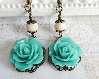 Turquoise flower earrings, dangle rose earrings, romantic jewelry, bronze jewelry, gift for her, rustic long earrings, ivory