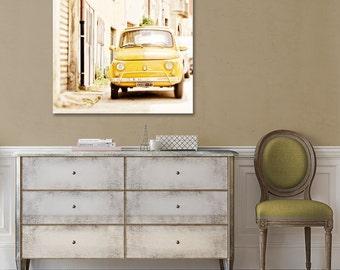Yellow Car Canvas, Fiat 500, Large Canvas Print, Italy Photography, European Art, Travel Decor, Nursery, Office Wall, Whimsical Home Decor