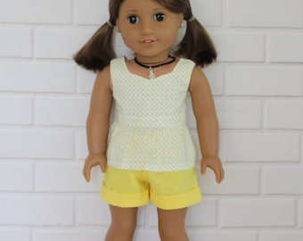 White Yellow Peplum Top Yellow Shorts Doll Clothes to fit 18 inch dolls to 20 inch dolls such as American Girl & Australian Girl dolls