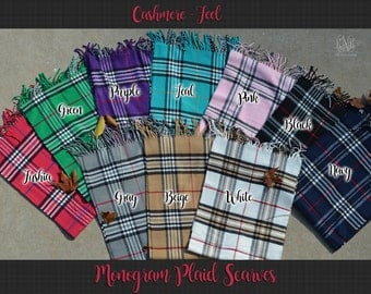Monogram Cashmere Feel Plaid Scarves, Monogram Plaid Scarfs, Personalized Scarves, Personalized Monogram Scarf, Cashmere Feel Scarves